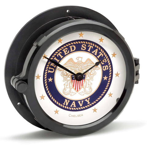 Chelsea U S Navy Patriot Deck Clock, Black Hands