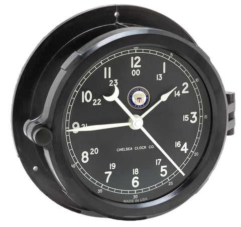 Chelsea U S Navy Patriot Deck Clock, Black Dial - BellClocks.com