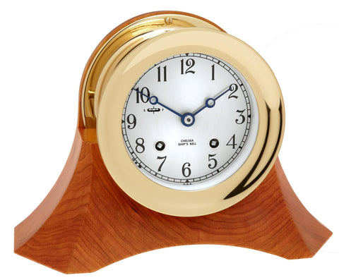 "Chelsea Ship's Bell Clock, 4.5"" Brass on Moser Cherry Base"