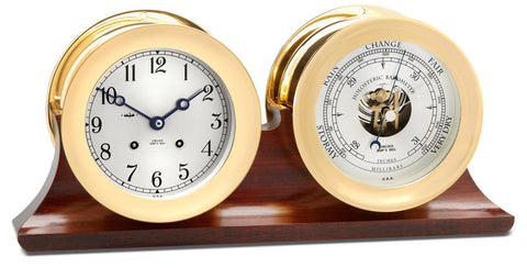 "Chelsea Ship's Bell Clock & Barometer Set, 4.5"" Brass - BellClocks.com"