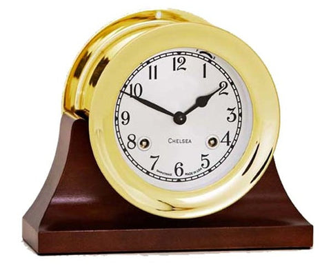 "Chelsea Shipstrike Clock, 4.5"" Brass on Contemporary Base"