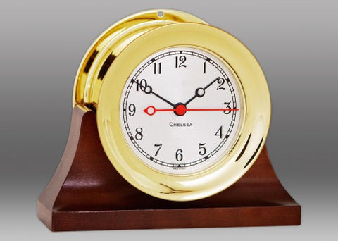 "Chelsea Shipstrike Quartz Clock, 4.5"" Brass on Contemporary Base"