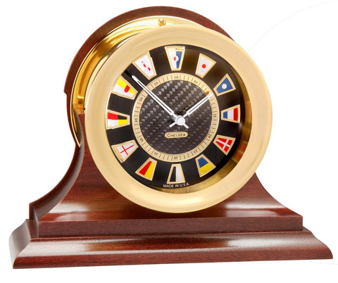 Chelsea Carbon Fiber Flag Clock on Mahogany Base, Brass