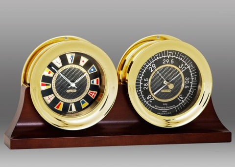 "Chelsea Carbon Fiber Flag Clock & Barometer Set, 4.5"" Brass"