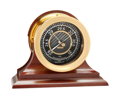Chelsea Carbon Fiber Barometer, Brass on Mahogany Base