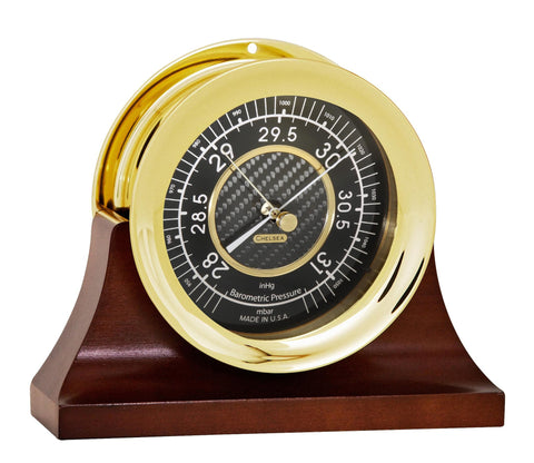 Chelsea Carbon Fiber Barometer, Brass on Contemporary Base