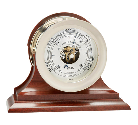 "Chelsea Ship's Bell Barometer, 4.5"" Nickel on Mahogany Base"