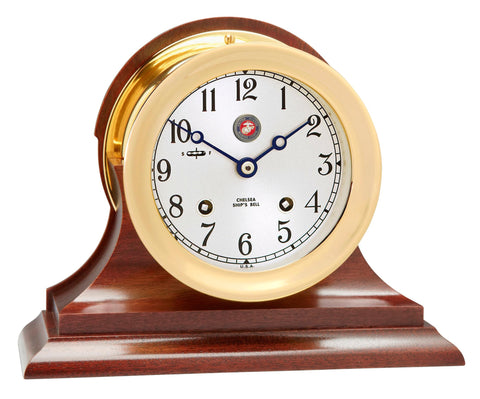 "Chelsea U S Marine Corps Ship's Bell Clock, 4.5"" Brass on Mahogany Base"