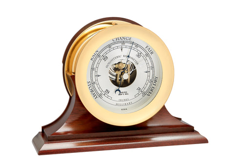 "Chelsea Ship's Bell Barometer, 6"" Brass on Mahogany Base"