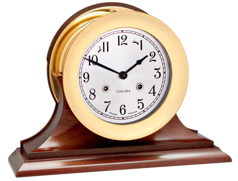 "Chelsea Shipstrike Clock, 4.5"" Brass on Mahogany Base"