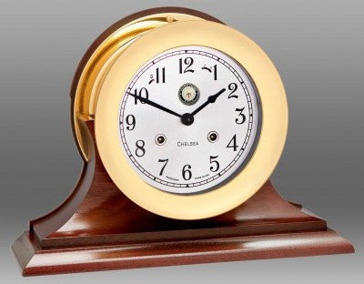 "Chelsea U S Navy Shipstrike Clock, 6"" Brass on Mahogany Base - BellClocks.com"
