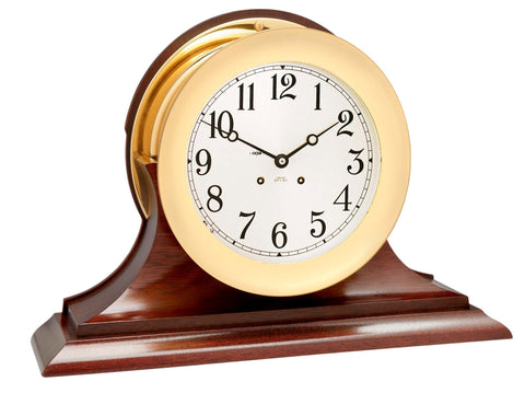 "Chelsea Ship's Bell Clock, 8.5"" Brass on Mahogany Base - BellClocks.com"
