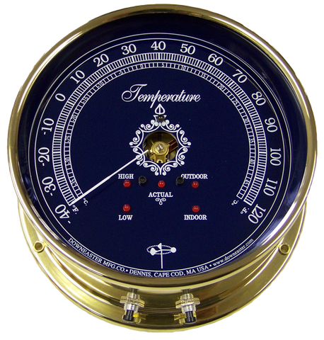 Downeaster Thermometer Indoor/Outdoor - Temperature Instrument, Blue Dial