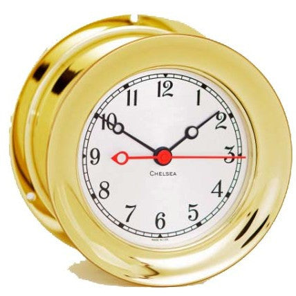 "Chelsea Shipstrike Quartz Clock, 4.5"" Brass - BellClocks.com"