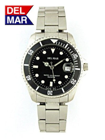Del Mar Men's 200M Classic Dive Watch, Black Dial - BellClocks.com