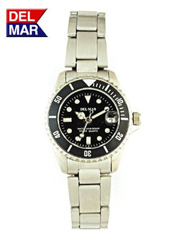 Del Mar Women's 200M Classic Dive Watch, Black Dial - BellClocks.com