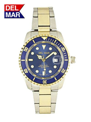 Del Mar Men's 200M Sport Watch, Two Tone, Blue Dial - BellClocks.com