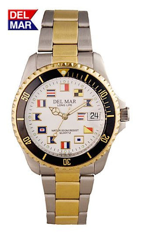 Del Mar Men's 200M Two Tone Classic Watch, White Nautical Flag Dial - BellClocks.com