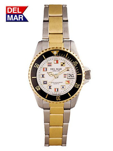 Del Mar Women's 200M Two Tone Classic Watch, White Nautical Flag Dial - BellClocks.com