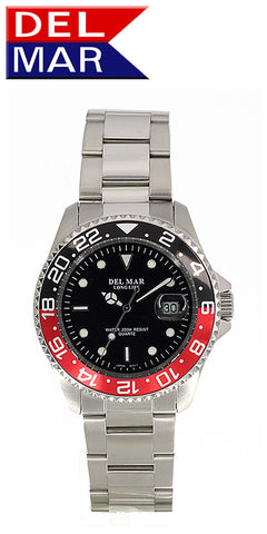 Del Mar Men's 200M Classic Dive Watch, Black & Red Bezel