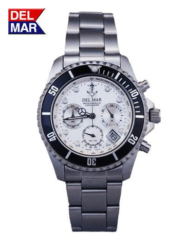 Del Mar Men's Chronograph, Anchor White Dial - BellClocks.com