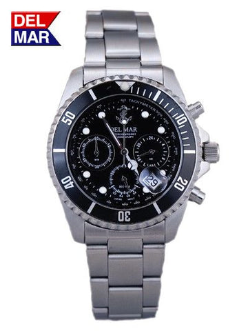 Del Mar Men's Chronograph, Anchor Black Dial - BellClocks.com