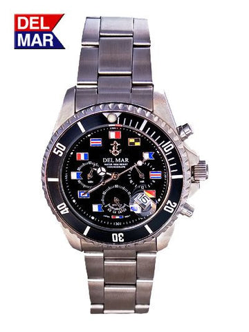 Del Mar Men's Chronograph, Black Nautical Flag Dial - BellClocks.com