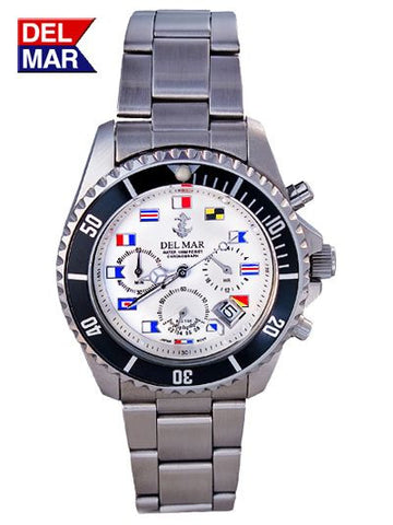 Del Mar Men's Chronograph, White Nautical Flag Dial - BellClocks.com