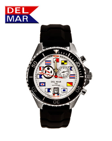Del Mar Men's 200M Tide Watch, White Nautical Flag Dial, Rubber Strap - BellClocks.com