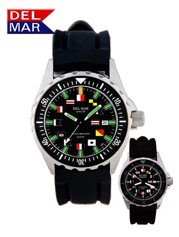 Del Mar Men's 200M SuperGlo Watch, Black Nautical Dial, Rubber Strap - BellClocks.com