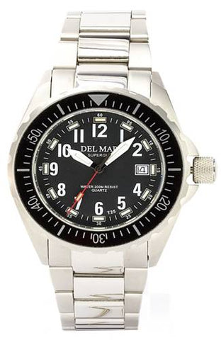 *NEW* - Del Mar Men's 200M SuperGlo Ultimate Sport Dive Watch, Stainless Bracelet