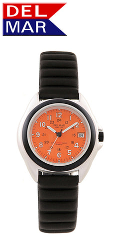 Del Mar Men's 200M Lite Aluminum Watch, Orange Dial - BellClocks.com