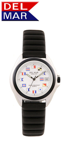Del Mar Men's 200M Lite Aluminum Watch, White Nautical Flag Dial - BellClocks.com