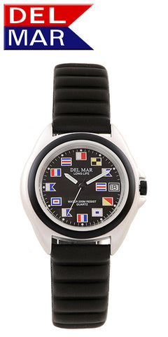 Del Mar Men's 200M Lite Aluminum Watch, Black Nautical Flag Dial