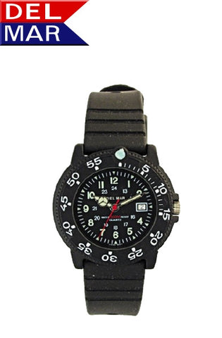 Del Mar Women's Dive 200 Black Dial PU Watch - BellClocks.com