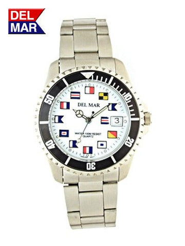 Del Mar Men's 200M Stainless Steel Classic Watch, White Nautical Flag Dial - BellClocks.com