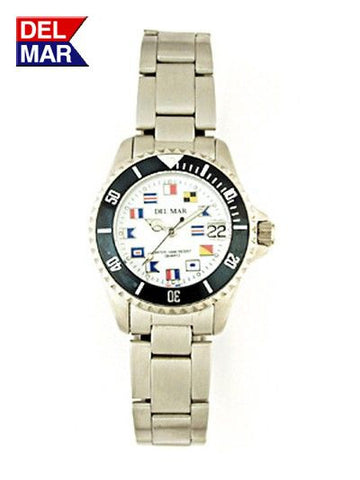 Del Mar Women's 200M Stainless Steel Classic Watch, White Nautical Flag Dial - BellClocks.com