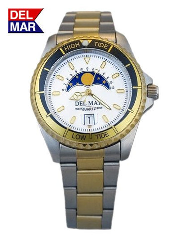 Del Mar Men's 200M Tide Watch, White Moonphase Dial - BellClocks.com