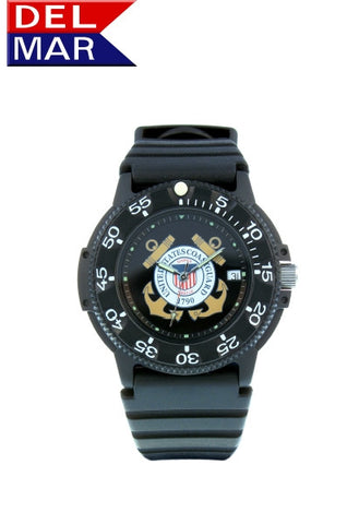 Del Mar Men's 200M Coast Guard Dive Watch, Kevlar Resin Case - BellClocks.com