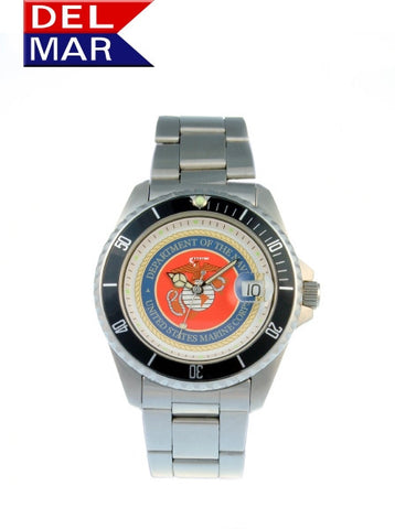 Del Mar Men's 200M Marine Corps Dive Watch, Stainless Steel - BellClocks.com