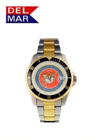 Del Mar Men's 200M Marine Corps Dive Watch, Two Tone Stainless - BellClocks.com