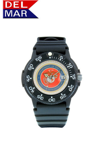 Del Mar Men's 200M Marine Corps Dive Watch, Kevlar Resin Case - BellClocks.com