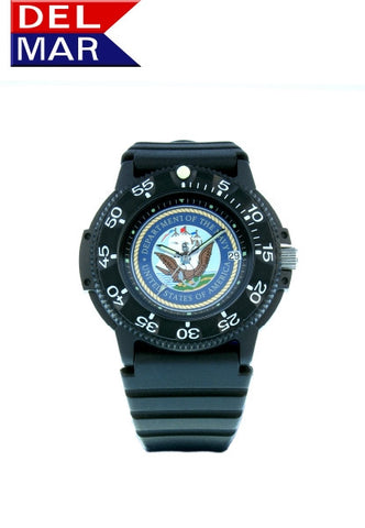 Del Mar Men's 200M U S Navy Dive Watch, Kevlar Resin Case - BellClocks.com