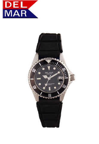 Del Mar Women's 200M Sportstrap Classic Dive Watch, Black Dial - BellClocks.com