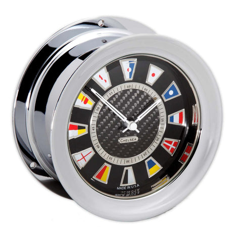 Chelsea Carbon Fiber Flag Clock, Chrome - BellClocks.com