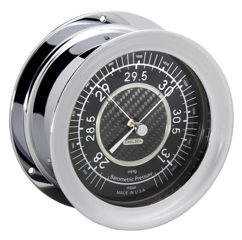 Chelsea Carbon Fiber Barometer, Chrome - BellClocks.com