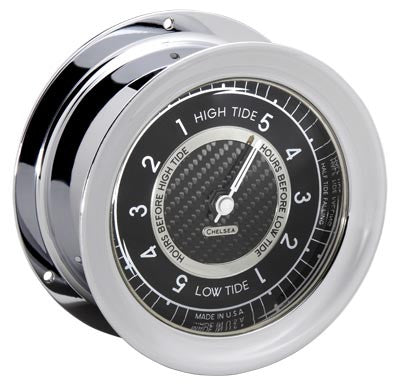 Chelsea Carbon Fiber Tide Clock, Chrome - BellClocks.com