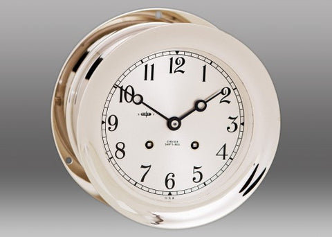 "Chelsea Ship's Bell Clock, 6"" Nickel - BellClocks.com"