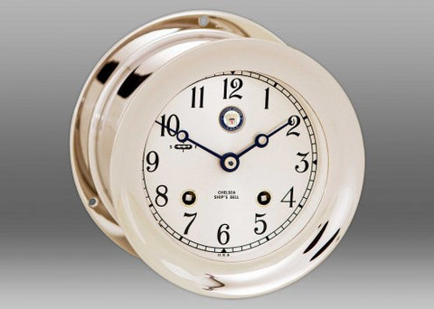 "Chelsea U S Navy Ship's Bell Clock, 4.5"" Nickel - BellClocks.com"