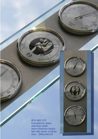 D & D Barometers Weather Station in Glass and Stainless - BellClocks.com